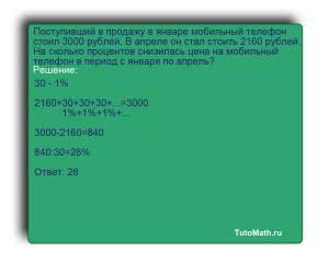 Поступивший в продажу в январе мобильный телефон стоил 3000 рублей. В апреле он стал стоить 2160 рублей. На сколько процентов снизилась цена на мобильный телефон в период с января по апрель?
