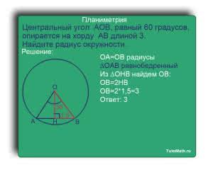 Центральный угол  AOB, равный 60 градусов, опирается на хорду  AB длиной 3. Найдите радиус окружности.